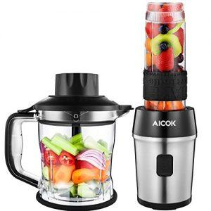 Aicok Zerkleinerer Mixer Set, 700 W Multizerkleinerer elektrisch mit 1,2 L Mixbehälter, Mini Mixer mit 570 ml abnehmbarer Trinkflasche, Zwiebelschneider, Gemüse und Fleisch Zerkleinerer, BPA frei, Schwarz / Silber