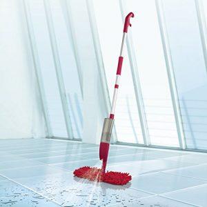 CLEANmaxx Spray-Mopp flexibel rot ( Praktischer Wende-Mopp zur Nass- und Trockenreinigung )