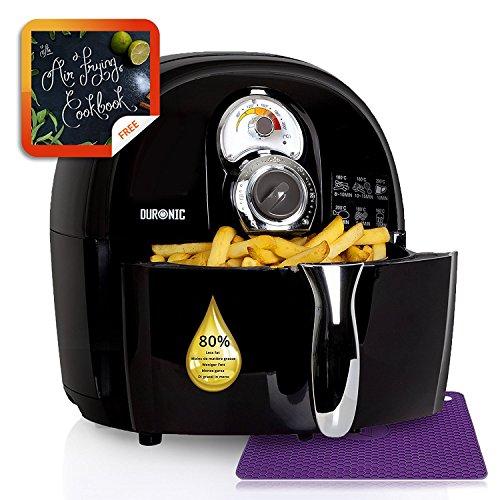 Duronic AF1 / B Heißluft Fritteuse mit Umluft Technik – Gesund und fettfrei + kostenloses Rezeptbuch