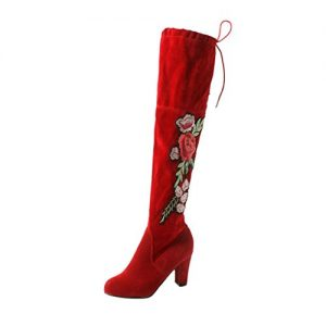 Kniehohe Stiefel Damen, DoraMe Frauen Rose Bestickte High Heels Schuhe Knie Stiefel Herde Boots (37, Rot)