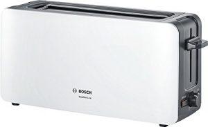 Bosch TAT6A001 Langschlitz-Toaster ComfortLine, automatische Brotzentrierung, Auftaufunktion, 1090 W, weiß / dunkelgrau