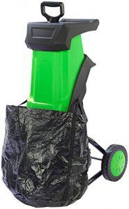 AGT Häcksler: Elektrischer Gartenhäcksler mit Auffangbehälter & Stopfer (Leisehäcksler)
