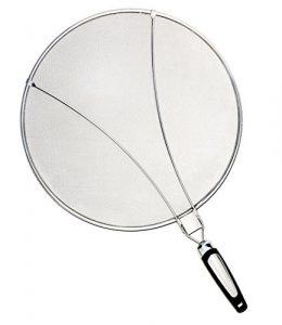 Philonext Edelstahl-Spritzer-Schirm-Schutz Mit Silikon-Klappgriff Anzug für viele Töpfe Pfannen Praktische Küchen Bratpfanne Öl Proofing Deckel