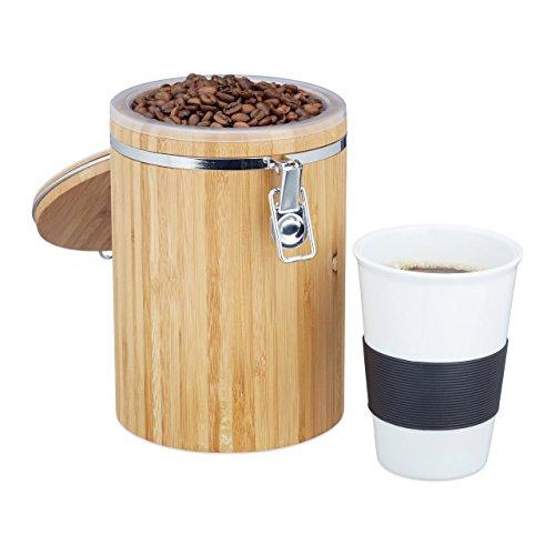 Relaxdays Kaffeedose Bambus, leicht zu reinigen, Kunststoffbehälter, Bügelverschluss, H x B x T: ca. 20 x 13,5 x 13,5 cm, natur