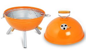 WOLTU® CPZ8120or-c 1 x Mini-Kugelgrill Holzkohlegrill tragbar emaillierter Grillkörper 31 x 31 x 42cm Orange