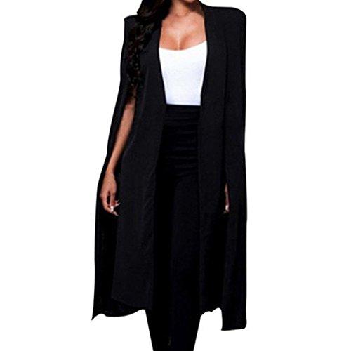 Bekleidung Hirolan Frau Blazer Lose Lange Mantel Mantel Kap Party Graben besondere Entworfen Outwear Schwarz Weiß Jacke Mode Charmant Strickjacke (XXL, Schwarz)