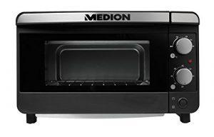 MEDION MD 15720 Mini Toastofen Pizzaofen (1200 Watt, bis zu 28 cm Pizza, 13 Liter Volumen, 100-200 Grad, Doppelglastür) silber