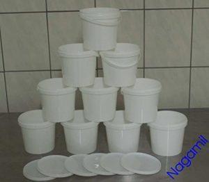 10x 1 Liter Eimer mit Deckel, weiß, lebensmittelecht, stapelbar