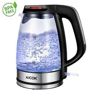 Aicok Glas Wasserkocher 1.7L, Schnell Wasserkocher mit 2200 W, Elektrischer Wasserkessel mit LED Licht, kabellos, Silber