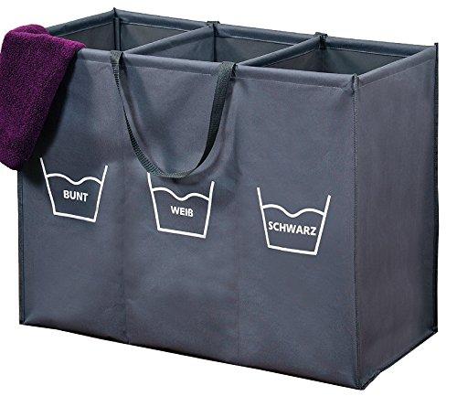 Wäschesortierer Wäschekorb Wäschesammler Wäschebox Trio 150 Liter (3 x 50 Liter) 3 Fächer zum Vorsortieren Sortieren der Wäsche nach Wasch-Temperatur oder Farbe
