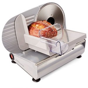 Andrew James – Elektrische Präzisions-Aufschnittmaschine Allesschneider – 19cm Klinge + 2 Extra Klingen für Brot und Fleisch