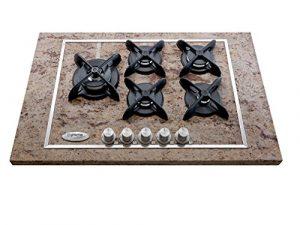 "Gas-Kochfeld, 5 Brenner, Shiwakashi Granit, Modell ""Flat"", Gusseisen Gitter mit schwarzem Matt-Emaille, Größe 760 mm x 510 mm"