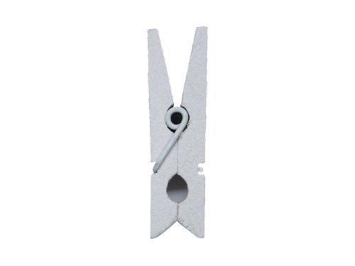 Klammern Mini 24 Stück ca. 2,5 cm Holz weiß - Waescheklammern - 2691