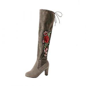 Kniehohe Stiefel Damen, DoraMe Frauen Rose Bestickte High Heels Schuhe Knie Stiefel Herde Boots (35, Grau)