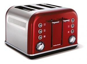Morphy Richards 242020EE Accents Toaster (1880 Watt, 4 Schlitz) rot