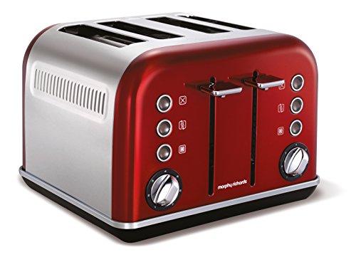 Morphy Richards 242020EE Accents Toaster (1880 Watt, 4 Schlitz) rot