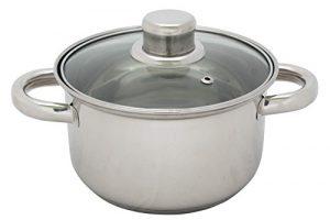 Kochtopf Edelstahl mit Glasdeckel 3,5 L 20 cm Topf Kochen
