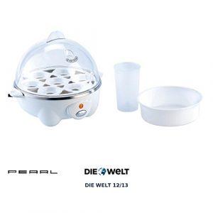 PEARL Eierkochhilfe: 2in1 Eierkocher mit Pochier-Einsatz, 7 Eier bzw. Spiegel- oder Rührei (Eierkocher mit Härtegradeinstellung)