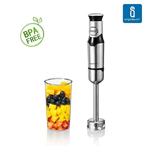 Aigostar Stirring Silver 30IOM - Stabmixer mit Becher, Jog Touch-Schalter mit 600Watt, Lebensmittelqualität 304 Edelstahl, BPA frei. Exklusives Design.