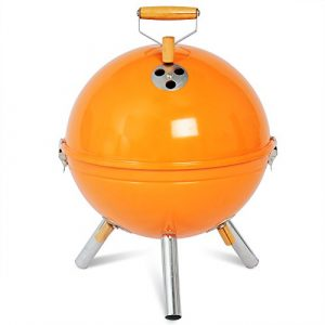 EUGAD CPZ8120or Holzkohlegrill 31 x 31 x 42 cm Mini-Grill emaillierter Grill Edelstahl Orange