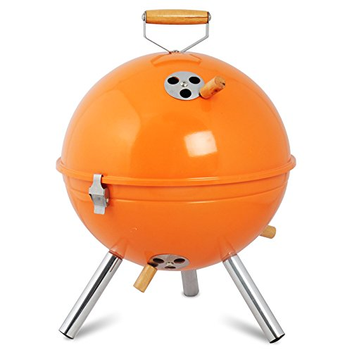 WOLTU® Holzkohlegrill Mini-Grill emaillierter Grill Edelstahl CPZ8120or Orange 31 x 31 x 42cm