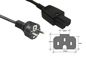 Kab24® Stromkabel (2m, schwarz Schutzkontaktstecker auf Heissgerätebuchse)