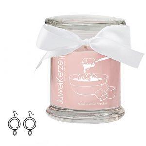 """JuwelKerze """"Marshmallow Fondue"""" – Kerze im Glas mit Schmuck – Grosse rosa Duftkerze mit Überraschung als Geschenk für Sie (925 Sterling Silber Ohrringe, Brenndauer: 60 Stunden, Schmuckwert von bis zu 250€)"""