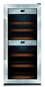 CASO WineMaster 24 Design Weinkühlschrank für bis zu 24 Flaschen (bis zu 310 mm Höhe), zwei Temperaturzonen 5-20°C, Getränkekühlschrank, Energieklasse A