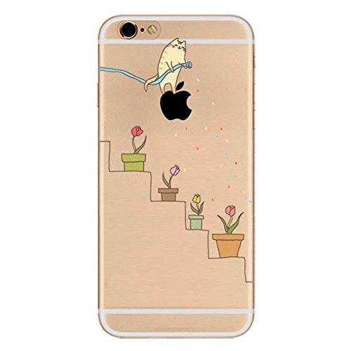Silikon Hülle für iPhone 6/iPhone 6S, Fukalu Lustig Transparent Blumen Tier Muster Weiche Silikon Schutzhülle TPU Bumper Case füriPhone 6/iPhone 6S (Bewässerung)