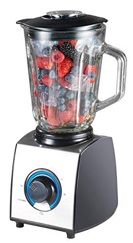 Rosenstein & Söhne Blender: Glas-Standmixer, 6 Klingen, 7 Modi, Ice Crush, 600W, 1,5l, Profi-Clean (Küchen-Mixer)