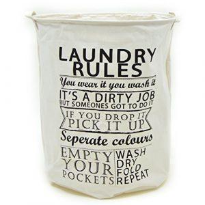 Pink Papaya Wäschesack Laundry Rules, formstabiler Leinen Wäschekorb für ihre Schmutzwäsche