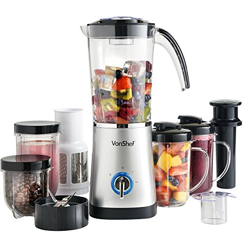 VonShef 4-in-1 Standmixer Multifunktionaler Smoothie Maker, Entsafter & Zerkleinerer, 1 L Behälter, Silber