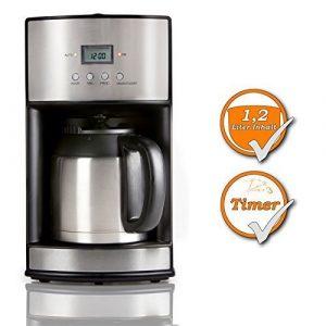 Kaffeemaschine für 1,2Liter Kaffee, mit 24h Timer, für 10 Tassen Kaffee, zu jeder Tageszeit und Nachtzeit, schwarz-silbernes Design