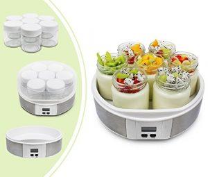Leogreen – Joghurtmaschine, Joghurt-Maker, 7 Gläser, mit Timer, 23 x 23 x 12 cm, Weiß, Kapazität pro Glas: 0,21 L