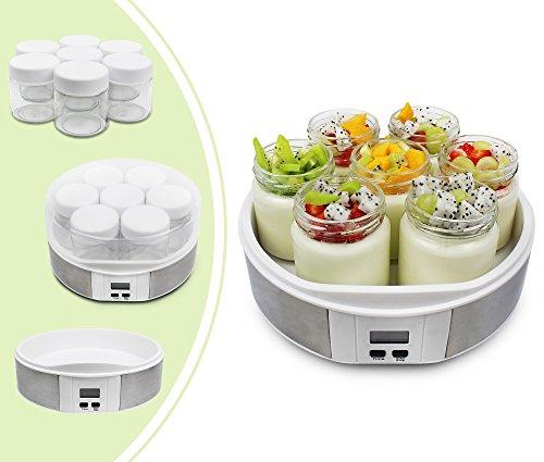 Leogreen - Joghurtmaschine, Joghurt-Maker, 7 Gläser, mit Timer, 23 x 23 x 12 cm, Weiß, Kapazität pro Glas: 0,21 L