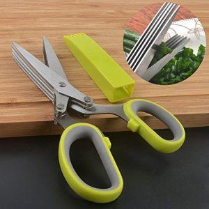 Kräuterschere mit Reinigungskämmchen, Minleer Edelstahl Scissors Herb mit 5 Klingen, Klingenlänge 8 cm, Rostfreier Edelstahl, Grün
