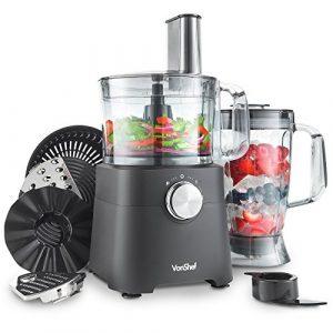 VonShef 750W Küchenmaschine Multifunktions-Standmixer – Mixer, Zerkleinerer, Entsafter, Multi Mixer mit Knethaken, Häcksler & Reibe – 2 Liter Rührschüssel & 1,8 Liter Mixgefäß