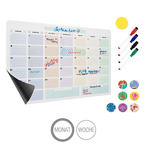 Amazy magnetischer Monatskalender inkl. 4 Marker, 7 Magnete und Radierer – Abwischbarer Kühlschrank Kalender für einen organisierte Monat (Monatlich)