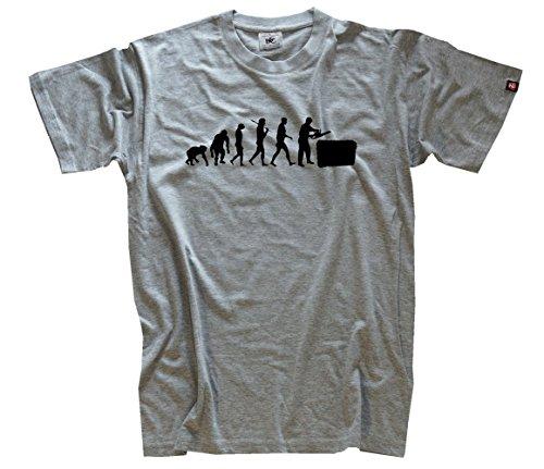 Shirtzshop Herren T-Shirt Heckenschneider Grünflächenpflege Gärtner Heckenschere Evolution, Grau, XL, ss-shop-evo_hecken-t