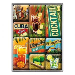 Nostalgic-Art 83073 Open Bar – Cocktail Time | Retro Magnet-Set (9teilig) | Kühlschrank-Magnete | Vintage