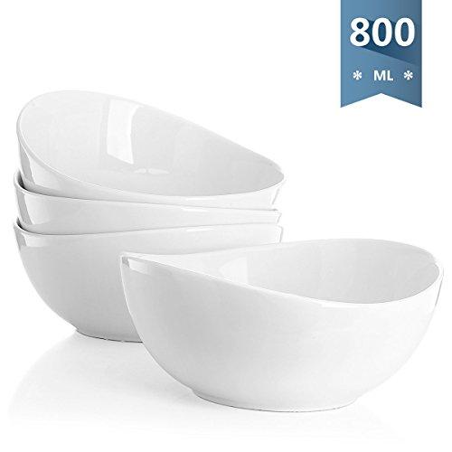 Sweese 1104 Schalen 4er Set aus Porzellan, Füllmenge 800 ml, Salatschüssel, Suppenschale, Müslischale, Schüssel, Große
