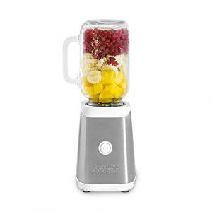 Mason Jar Smoothie Maker (350 Watt) von KITCHEN CREW Edelstahl Mini-Standmixer / Blender in weiß/grün/grapefruit aus Edelstahl mit Tritan Trinkflasche (0,6 l.) & 2 Trinkgläser (0,5 l.) inkl.