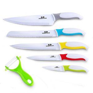 GA Homefavor Premium Messer Set aus Rostfreiem Edelstahl mit Keramik-Beschichtung Inklusive Gemüseschäler