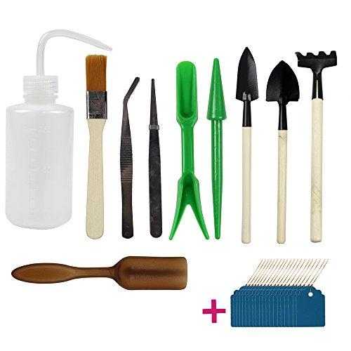 JUSLIN 10 Stück Mini Gartengeräte Garten Werkzeug Set, Mini Garten Kleingeräte für Pflanzen Sukkulenten und Blumen, mit 20 Pflanze Etiketten als Geschenk