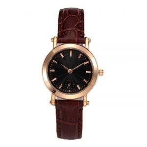 Personality Herd Mode Damen Uhr Uhr Kalender Runde Wasserdichte Quarzuhr,Brown2-OneSize