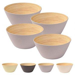 4 Stück Premium Bambusschale grau rund 460 ml von kaufdichgrün I Bambus Geschirr Schüssel Müslischale Obstschale Holzschale Salatschüssel Dekoschale Suppenschale Servierschüssel