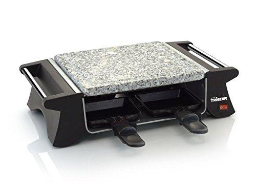 Raclette-Grill mit 4 antihaftbeschichteten Pfännchen Tischgrill Elektrogrill Steingrill für 4 Personen Grillplatte (sparsame 500 Watt, 1 grosse Grillfläche Naturstein + integrierte Handgriffe)
