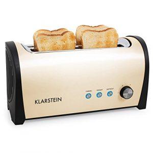 Klarstein Cambridge • Toaster • Doppel-Langschlitz-Toaster • 4-Scheiben-Toaster • Edelstahl • Brötchenaufsatz • 6-stufig einstellbarer Bräunungsgrad • 1400 Watt • creme