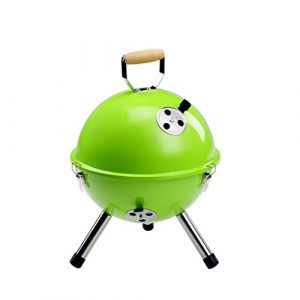 Im Freien kleiner Grill-Stahlhausaußenholzkohle-tragbarer runder faltbarer Grill-Gestell (3-5 Personen) ( Farbe : Grün )