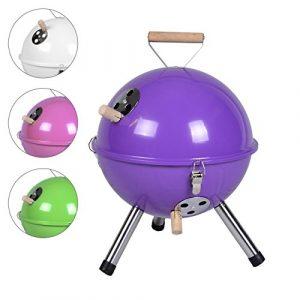 Mini Grill Kugelgrill Holzkohlegrill für Garten Terrasse Camping Festival Picknick BBQ Barbecue  Ø 30 cm lila